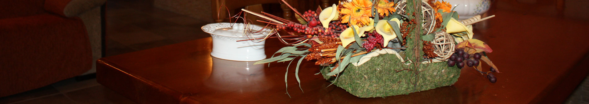 mesa con flores